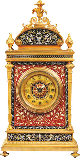 French Gilt Bronze ChamplevŽ Clock