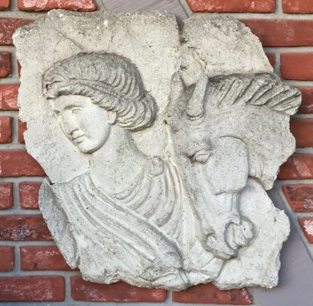 European Sculpted Relief Wall Fragment In Cement