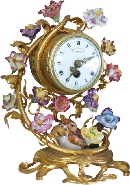 French Meissen Style Porcelain And Gilt Brass Boudoir Clock