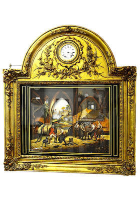 French Animated Musical Painting Clock