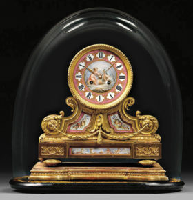 French Gilt Bronze and Porcelain Clock