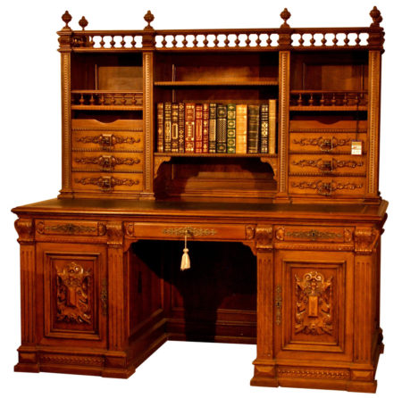 French Hand Carved Walnut Desk