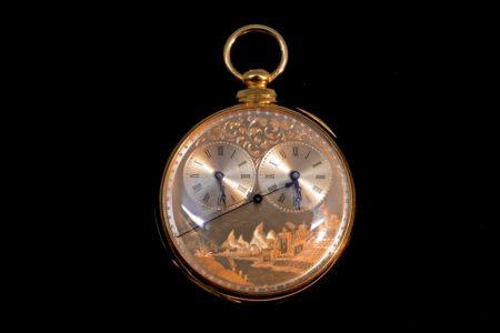English Rare Arnold Adams & Co. Dual Time Zone Key Wound Pocket Watch