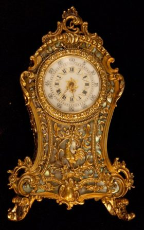 French Miniature Gilt Brass Boulle Clock