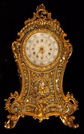 French Miniature Gilt Brass Boulle Clock