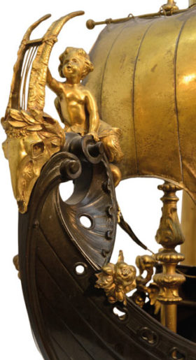 French Gilt and Patinated Bronze Fantasy Galleon