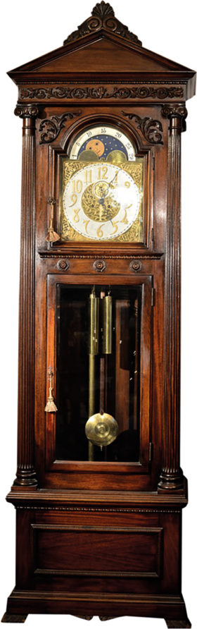 American Waterbury Mahogany Hall Clock