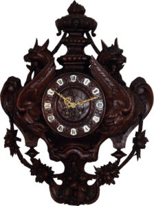 French Hand Carved Oak Cartel Clock