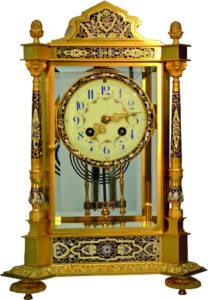 French Gilt Brass and ChamplevŽ Clock