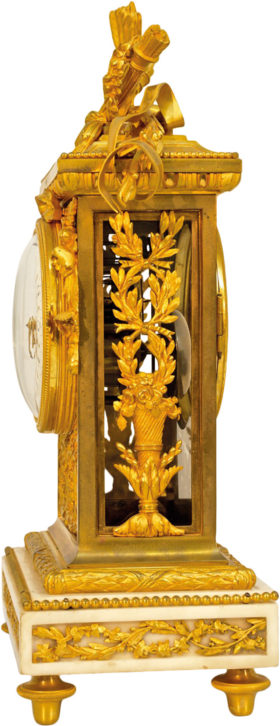 French Fire Gilt Brass and Carrera Marble Mantel Regulator