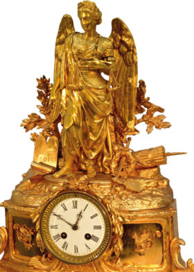 French Figural Mantel Clock Depicting Lady Justice