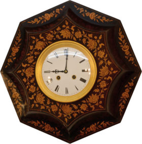 French Octagon Case Wall Clock In Brazilian Rosewood