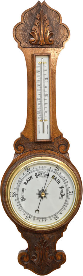 English Aneroid Banjo Barometer In Carved Oak