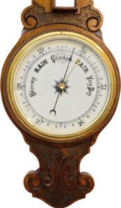 English Aneroid Banjo Barometer In Carved Oak
