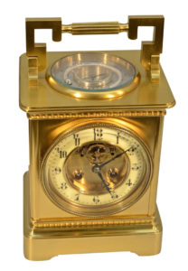 French Giant Carriage Clock with Skeletonized Balance Wheel Escapement