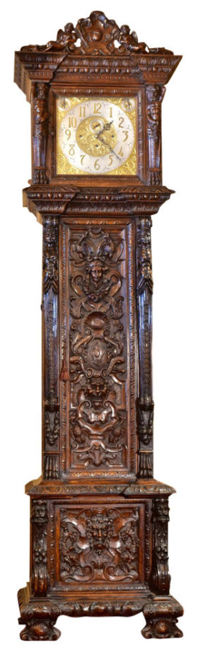 English Hand Carved Mahogany Monumental Hall Clock