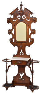 American Victorian Walnut Halltree With Mirror