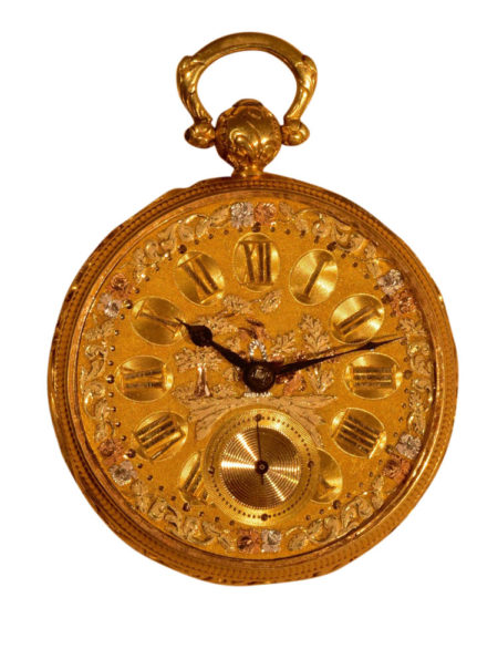English 18K Tri-Color Gold Dial Pocket Watch