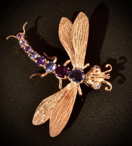 18K Yellow Gold Dragon Fly Pin With Diamond Eyes