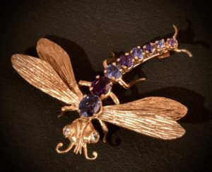 18K Yellow Gold Dragon Fly Pin With Diamond Eyes