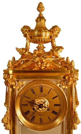 French Oversize Louis XVI Style Bronze Crystal Regulator