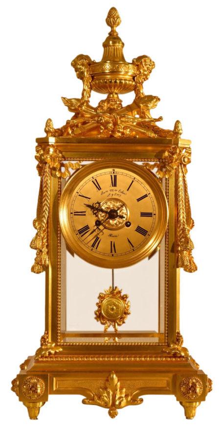 French Oversize Louis XVI Style Bronze Crystal Regulator