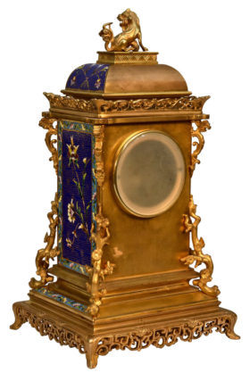 French Chinese Chinoiserie Style 3 Piece Garniture Clock