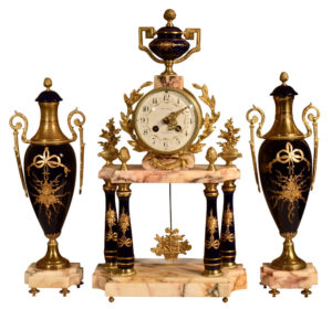 French Portico Mantel Clock with Side Urns