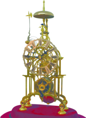 English Skeleton Clock In Glass Dome 8-day Movment
