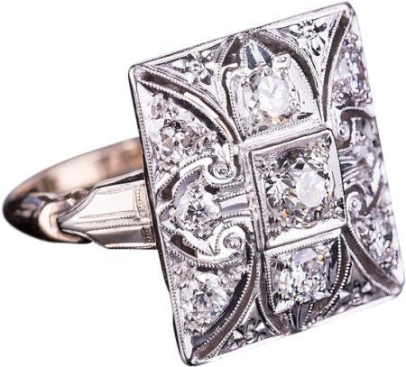 14K White Gold Art Deco Ring