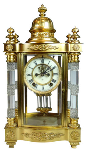 American Ansonia Utopia Cut Glass Crystal Regulator Clock
