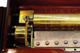 Swiss 12 Tune Early Key Wind Fat Cylinder Music Box