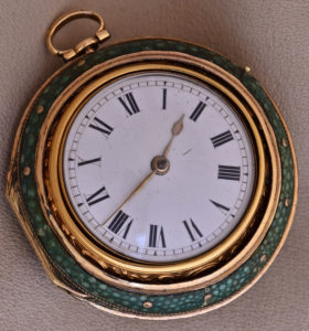 English 22K Gold Open Face Triple Case Pocket Watch
