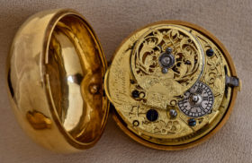 English 22K Gold Open Face Triple Case Pocket Watch