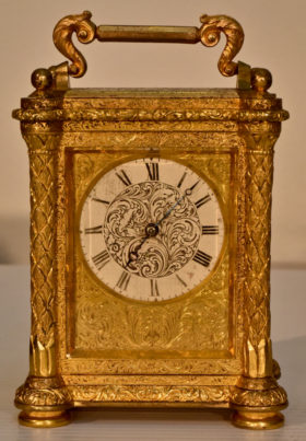 English Miniature Engraved Carriage Clock