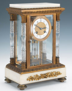 French Marble & Gilt Brass Crystal Regulator