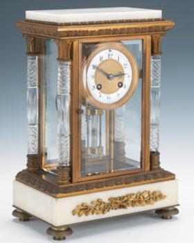 French Marble & Gilt Brass Crystal Regulator
