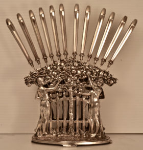 Austrian Silverplate Knife Holder & 12 Knives