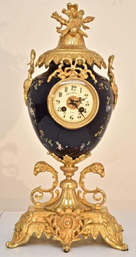 Porcelain and Gilt Urn Mantle Clock