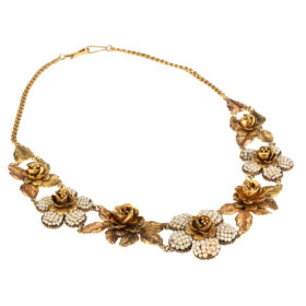 Yellow and Rose Gold Flower Necklace