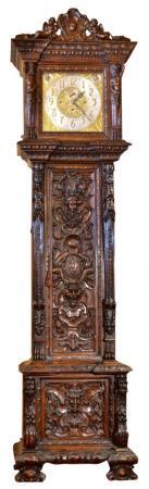 English Hand Carved Mahogany Monumental Hall Clock